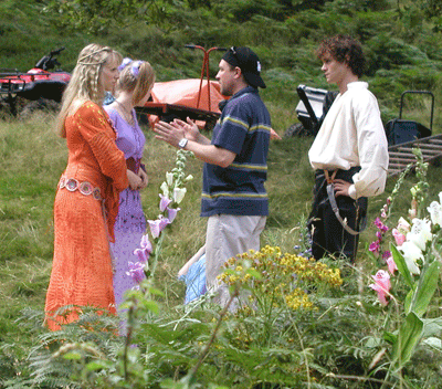 On the Ella Enchanted movie set -- Director Tommy O'Haver, Hugh Dancy (who plays Char), Lucy Punch, and Jennifer Higham